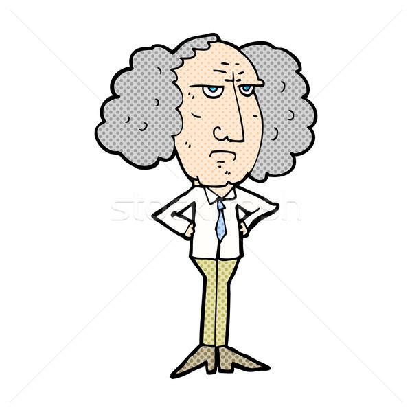 Képregény rajz nagy haj előadó férfi Stock fotó © lineartestpilot