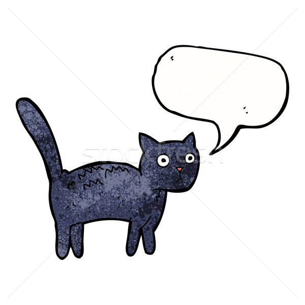 cartoon frightened cat with speech bubble Stock photo © lineartestpilot
