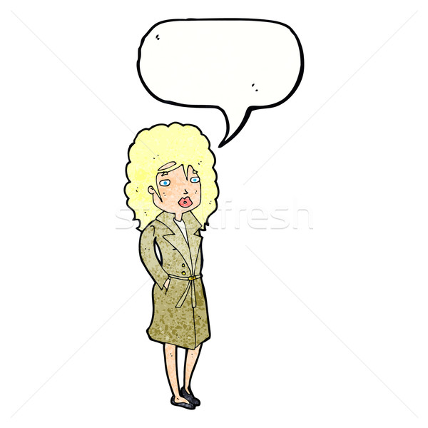 cartoon woman in trench coat with speech bubble Stock photo © lineartestpilot