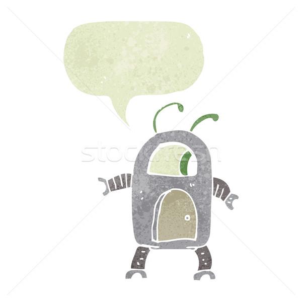 Rajz idegen robot szövegbuborék kéz terv Stock fotó © lineartestpilot