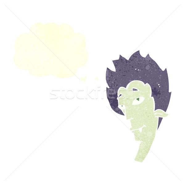 Karikatür vampir kafa konuşma balonu el dizayn Stok fotoğraf © lineartestpilot