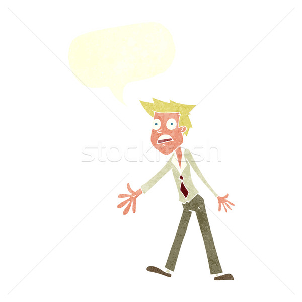 cartoon stressed man with speech bubble Stock photo © lineartestpilot