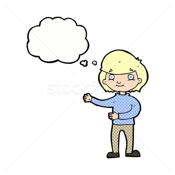 Karikatür mutlu kişi düşünce balonu el adam Stok fotoğraf © lineartestpilot