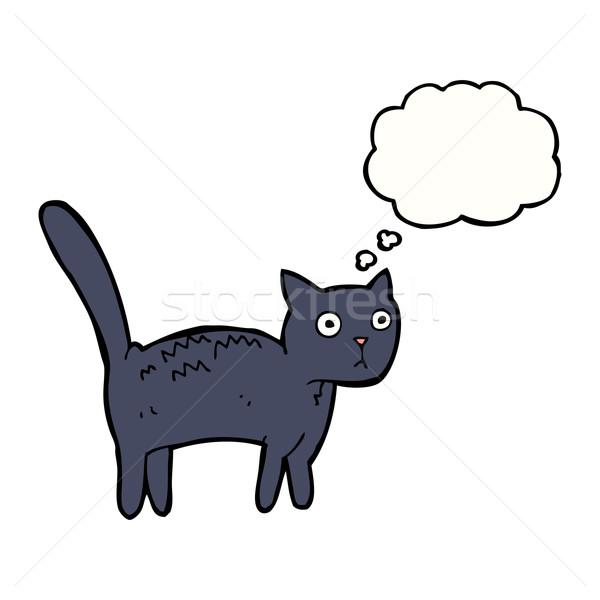 Cartoon bange kat gedachte bel hand ontwerp Stockfoto © lineartestpilot