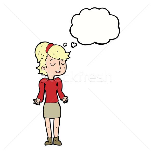Cartoon женщину Плечи мысли пузырь девушки стороны Сток-фото © lineartestpilot