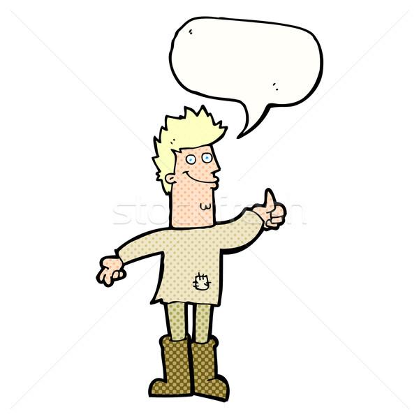 Cartoon pozytywny myślenia człowiek dymka strony Zdjęcia stock © lineartestpilot