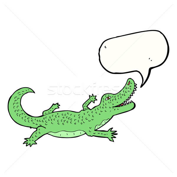 cartoon crocodile with speech bubble Stock photo © lineartestpilot