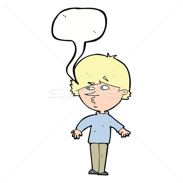 cartoon suspicious man looking over shoulder with speech bubble Stock photo © lineartestpilot
