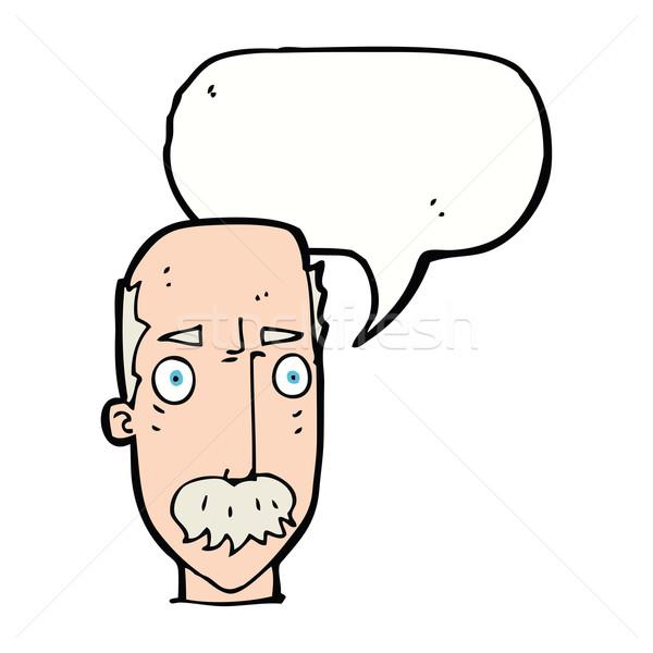 Desenho animado irritado velho balão de fala mão cara Foto stock © lineartestpilot