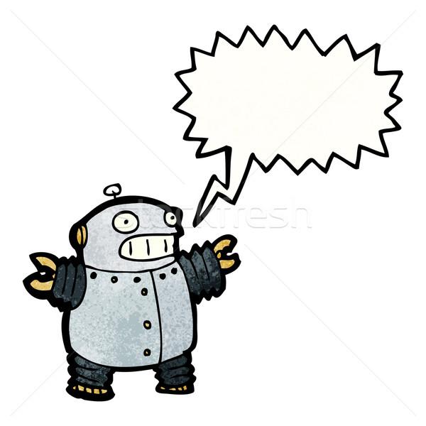 Stockfoto: Cartoon · weinig · robot · praten · retro · vet