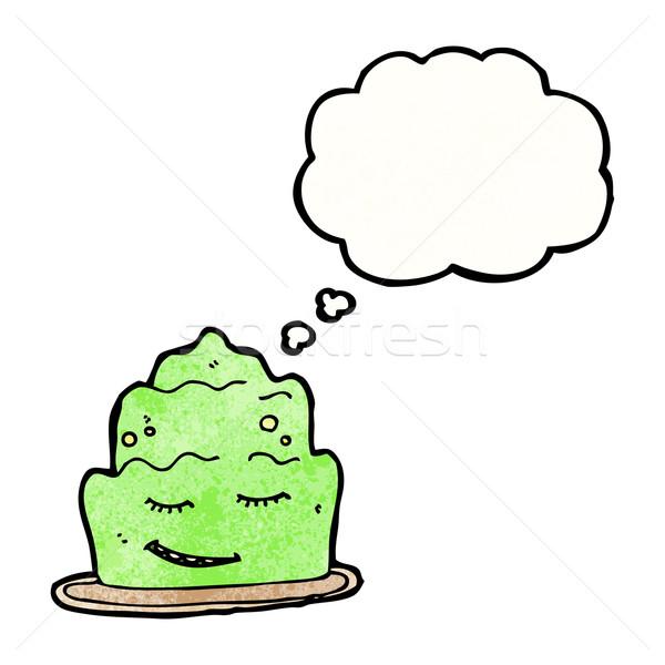 Cartoon gelatina dessert retro pensare disegno Foto d'archivio © lineartestpilot