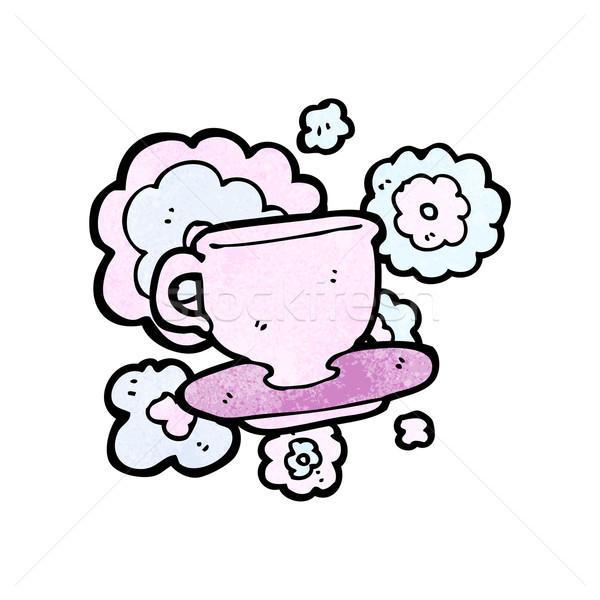 Cartoon чайная чашка искусства чай ретро Кубок Сток-фото © lineartestpilot
