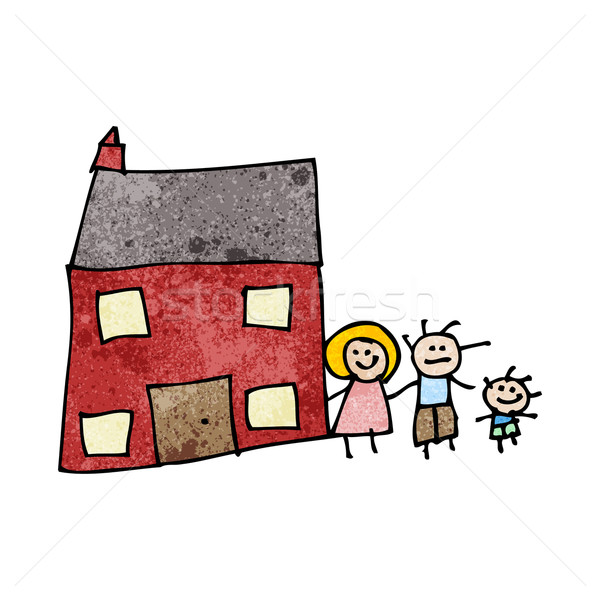 Stock photo: child's drawing of a family home