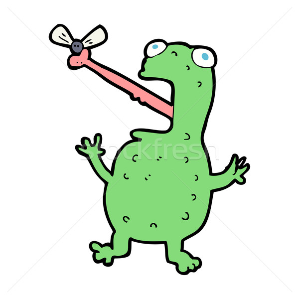 cartoon frog catching fly Stock photo © lineartestpilot