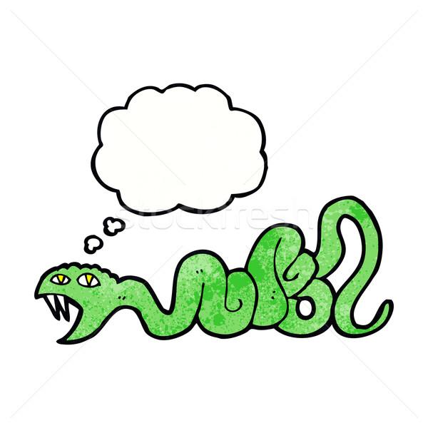 Desenho animado serpente balão de pensamento mão projeto arte Foto stock © lineartestpilot