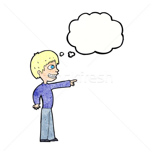 Rajz vigyorog fiú mutat gondolatbuborék kéz Stock fotó © lineartestpilot