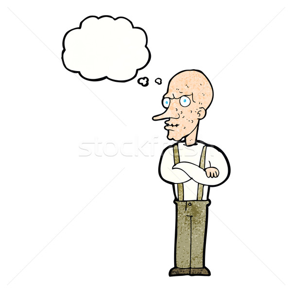 cartoon mean old man with thought bubble Stock photo © lineartestpilot