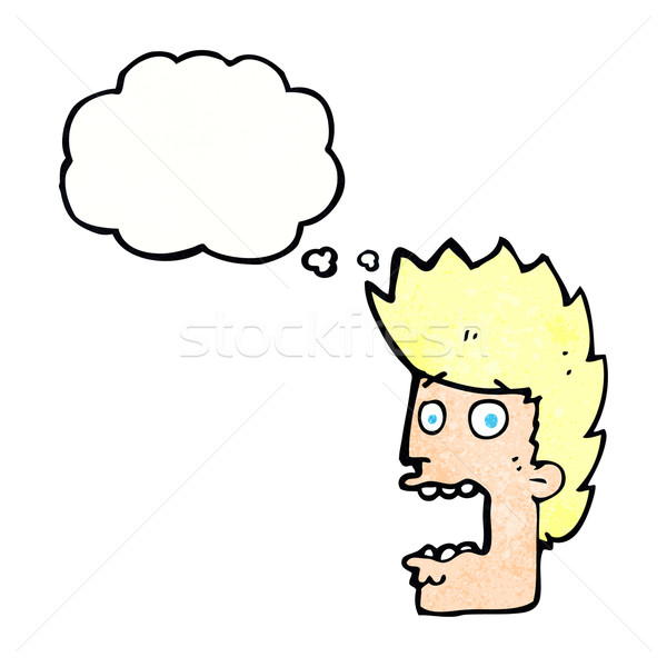 Cartoon przerażony człowiek bubble myśl strony twarz Zdjęcia stock © lineartestpilot