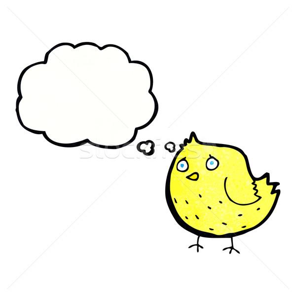 Cartoon птица мысли пузырь стороны дизайна Crazy Сток-фото © lineartestpilot
