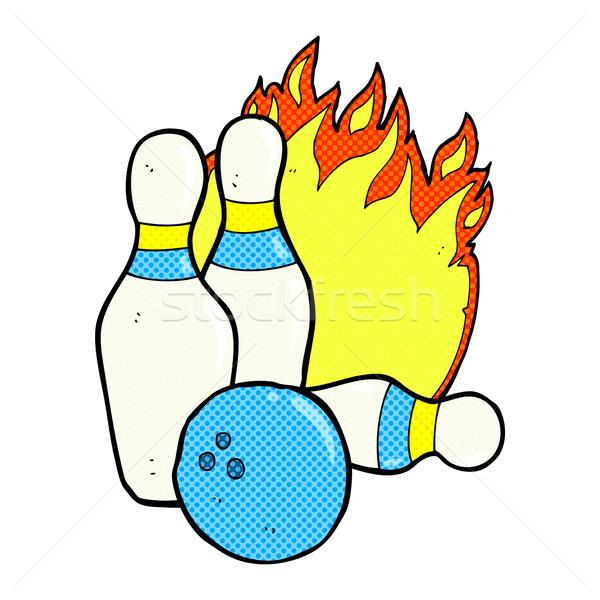 Tíz tő bowling képregény rajz retro Stock fotó © lineartestpilot