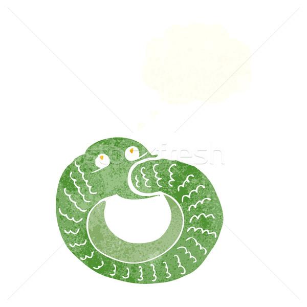 Desenho animado serpente alimentação próprio cauda balão de pensamento Foto stock © lineartestpilot