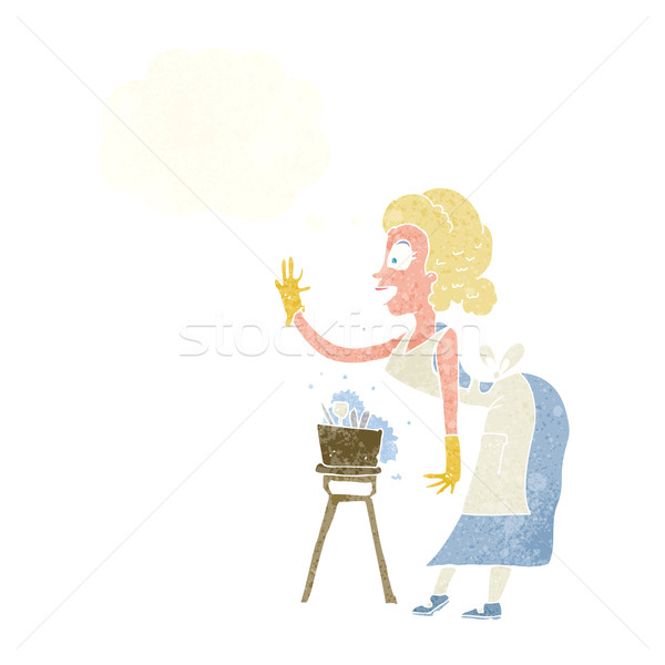 cartoon housewife washing up with thought bubble Stock photo © lineartestpilot