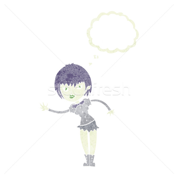 Cartoon вампир девушки мысли пузырь женщину стороны Сток-фото © lineartestpilot