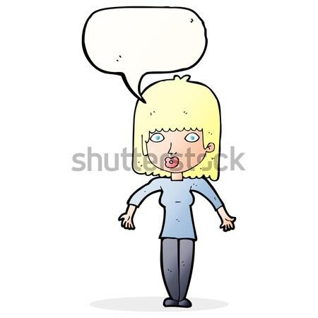 Cartoon femme mains hanches bulle de pensée main Photo stock © lineartestpilot