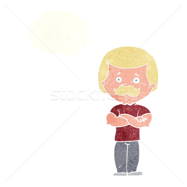 cartoon manly mustache man with thought bubble Stock photo © lineartestpilot
