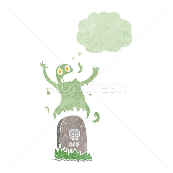 Cartoon fantasma tomba bolla di pensiero mano Foto d'archivio © lineartestpilot