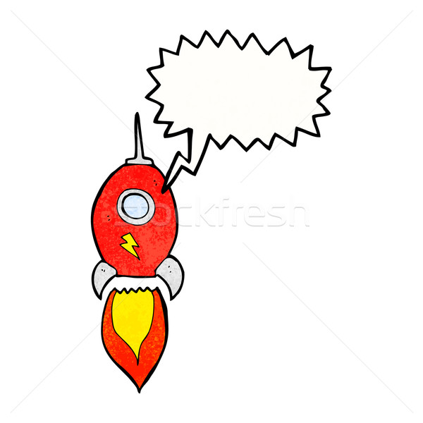 cartoon spaceship with speech bubble Stock photo © lineartestpilot