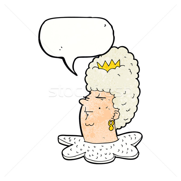 cartoon queen's head with speech bubble Stock photo © lineartestpilot