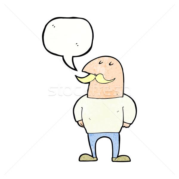 Cartoon calvo hombre bigote bocadillo mano Foto stock © lineartestpilot