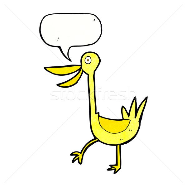 Grappig cartoon eend tekstballon hand ontwerp Stockfoto © lineartestpilot