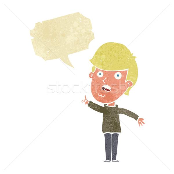 Desenho animado homem pergunta balão de fala mão Foto stock © lineartestpilot
