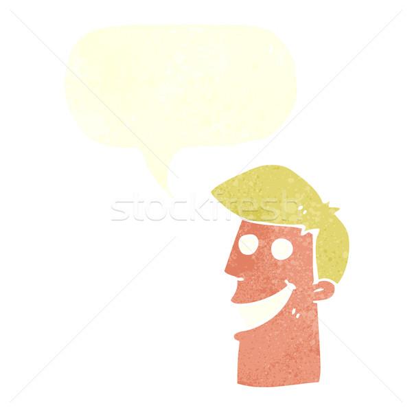Karikatur grinsend Mann Sprechblase Hand Gesicht Stock foto © lineartestpilot