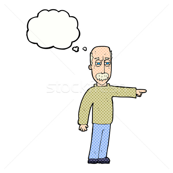 cartoon old man gesturing Get Out! with thought bubble Stock photo © lineartestpilot