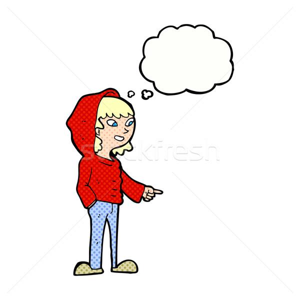 Cartoon указывая подростку мысли пузырь стороны дизайна Сток-фото © lineartestpilot