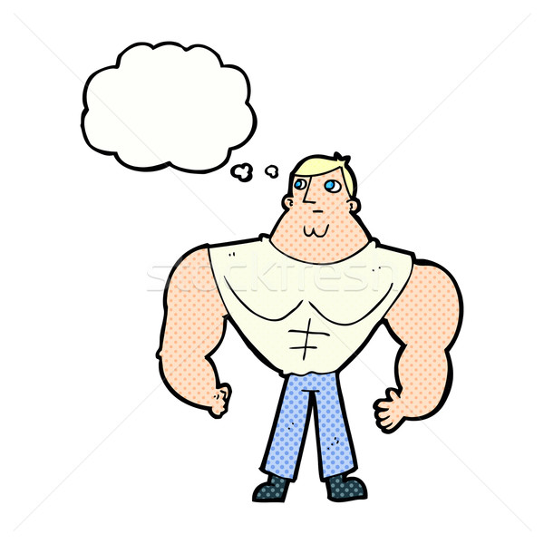 cartoon body builder with thought bubble Stock photo © lineartestpilot
