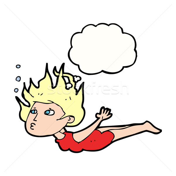 cartoon woman swimming underwater with thought bubble Stock photo © lineartestpilot