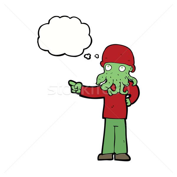 Cartoon straniero mostro uomo bolla di pensiero mano Foto d'archivio © lineartestpilot