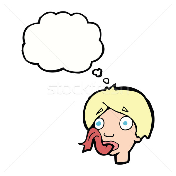 cartoon head sticking out tongue with thought bubble Stock photo © lineartestpilot