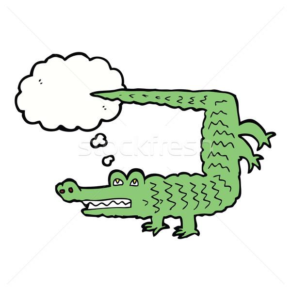 Rajz krokodil gondolatbuborék kéz terv állatok Stock fotó © lineartestpilot