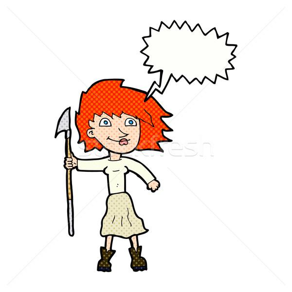 Cartoon vrouw speer tekstballon hand ontwerp Stockfoto © lineartestpilot