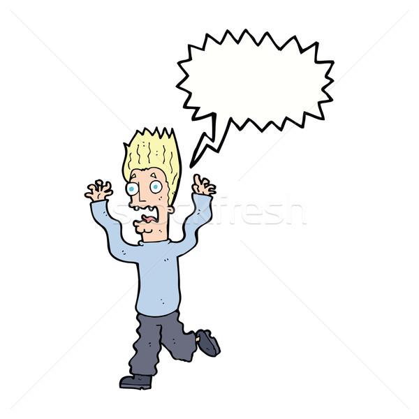 Cartoon испуганный человека речи пузырь стороны дизайна Сток-фото © lineartestpilot