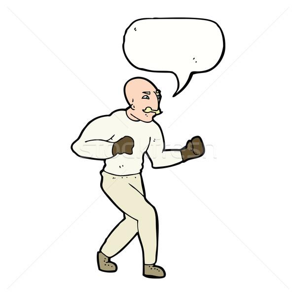 cartoon victorian boxer with speech bubble Stock photo © lineartestpilot