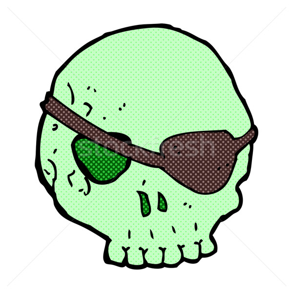 Stock photo: comic cartoon skull with eye patch