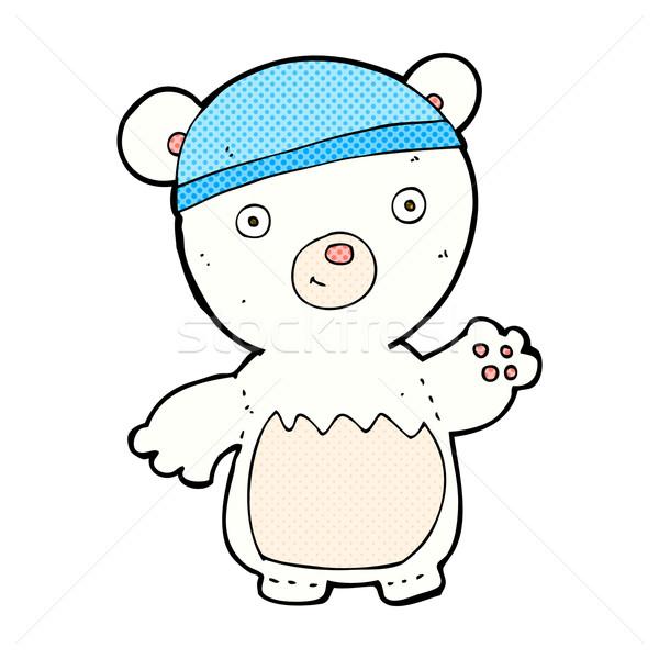 comic cartoon polar bear wearing hat Stock photo © lineartestpilot