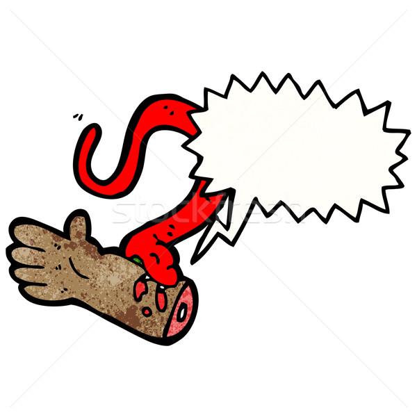 Cartoon slang bijten textuur hand gelukkig Stockfoto © lineartestpilot