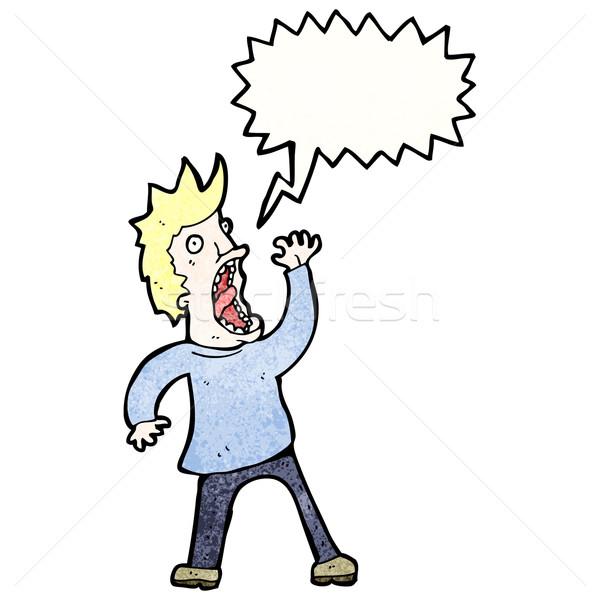 Cartoon przerażony człowiek sztuki retro rysunek Zdjęcia stock © lineartestpilot